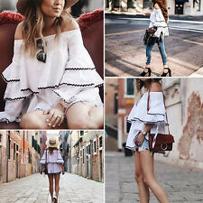 Summer Women Casual Elastic Off Shoulder Long Puff Sleeve Tops Blouse Fashion