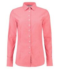 Ladies Coral Textured Fitted Stretch Work Office Shirt - Dotted Blouse for Women