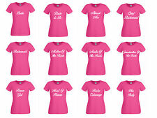 Personalised Hen Do Pink T Shirts Hen Night Party Bride  Ladies T-Shirt Printed
