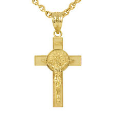 "Fine 14k Yellow Gold St. Benedict Crucifix Large (1.60"") Pendant Necklace"