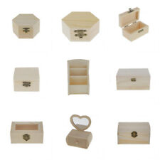 Natural Unpainted Wood Box Rectangle Wooden Jewelry Storage Box Case Organizer