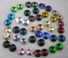 14mm satellite shape Glass Color Faceted Glass Round Jewels silver bottom 40pcs