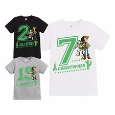 OFFICIAL CHILDRENS TOY STORY WOODY & BUZZ CHEVRON PERSONALISED BIRTHDAY T SHIRT