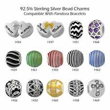 925 Sterling Silver Bead Charms for European Charm Bracelet Necklace #33-1469