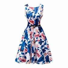 Women Blue Color Summer Stylish Floral Printed Belted Party Wear Dress