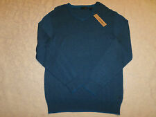 DKNY JEANS SWEATER MENS SIZE XL V-NECK BLUE COLOR LONG SLEEVES NEW NWT