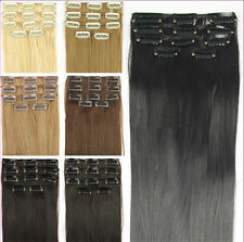 """New 24"""" 62cm Women Long Straight 5 Pieces Clip In On Full Head Hair Extension 15"""