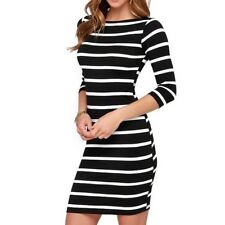 Women Round Neck Fashion 2 Colors Striped Long Sleeve Casual Dress ABB2141
