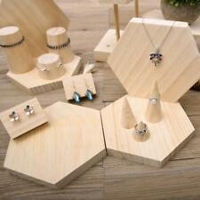 Natural Wooden Jewelry Display Stand Earring Bracelet Ring Holder Organizer Gift