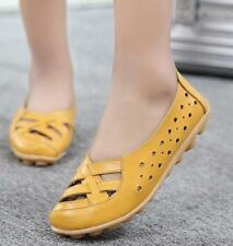 Women Casual Faux Leather Flats Slip on laofers Flats Driving Moccasin Shoes #