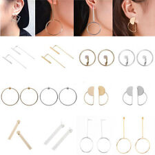 Women Gold Silver Plated Round Circle Geometric Dangle Drop Ear Stud Earrings