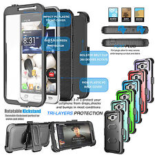 Case Clip Holster Armor Phone Cover with Built-in Screen Protector for Samsung