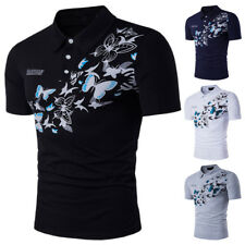 Chic Mens Lapel Short Sleeve T- Shirt Casual Tops Butterfly Printed Blouse New