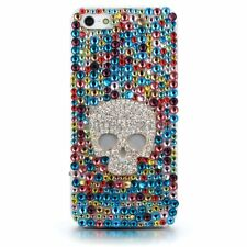 Colorful Rhinestones Protective White Skull Hard Case Cover for Apple iPhone