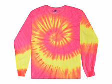 Tie Dye Long Sleeve T-Shirts Fluorescent Kids Youth XS-Large Gildan Cotton