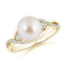 8mm Akoya Cultured Pearl and Diamond Infinity Ring 14k Yellow Gold Size 3-13