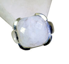 Rainbow Moonstone Silver Ring L-1in desirable White wholesales AU K,M,O,Q