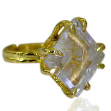 Rutilated Quartz Copper Ring L-1in sublime Multi handmade AU K,M,O,Q