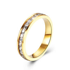14K Gold Plated Charm Square CZ Wedding Band Ring Size 8 9 Eternity