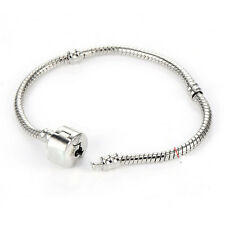 Classic Silver plated European Charm Snake Chain Bracelet Fit Beads 3mm