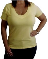 Sexy Yellow Low-Cut Stretchy V-Neck Cleavage Simple Womens Plus Shirt Top 1x2x3x