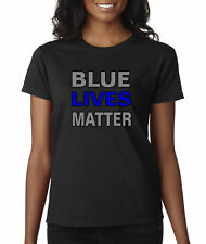 New Way 738 - Women's T-Shirt Blue Lives Matter Law Enforcement Police Cops