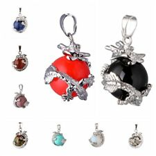 Girls Dragon Wrap Gemstone Gems Inlaid Ball Charm Pendant Bead For Necklace