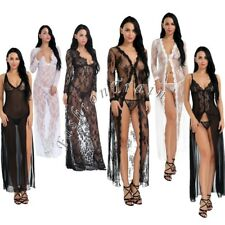 Sexy Women Nigh Club Lingerie Dress Sheer Long Gown Sleepwear Robe G-string Set