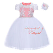 Girl Dress with Headband Flower Embroidered Wedding Bridesmaid Party Pageant