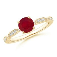 Round Ruby Solitaire Ring with Quad Diamond Accents 14k Yellow Gold Size 3-13