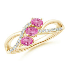 Oval Pink Sapphire Three Stone Bypass Ring with Diamonds 14k Yellow Gold/ Silver
