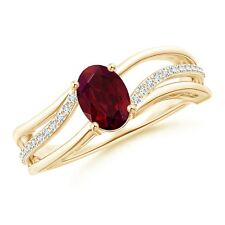 Solitaire Oval Garnet Bypass Ring with Diamond Accents 14k Yellow Gold/ Silver