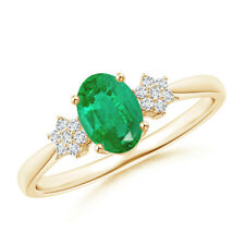 Tapered Oval Emerald Solitaire Ring with Cluster Set Diamond 14k Yellow Gold