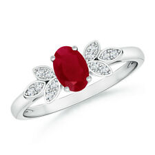 Vintage-Style Oval Solitaire Ruby Ring with Diamond 14K White Gold Size 3-13
