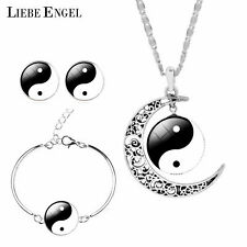 LIEBE ENGEL Unique Tai Chi Jewelry Sets For Women Silver Color Earrings Brace...