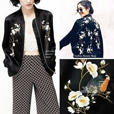 Oriental Plum Flower EMBROIDERED BOMBER JACKET Womens Embroidery Cardigan Coat