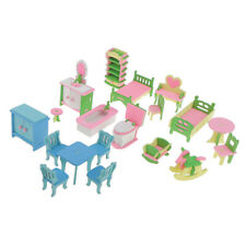 4 Sets Lots of Wood Dollhouse Furniture Kits for Dollhouse Miniatures ACCS
