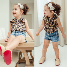 Toddler Kids Baby Girl Hooded Leopard Print T Shirt Top Shorts Pants Clothes Set