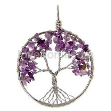 Round Circle Tree of Life Wire Wrap Gemstone Chip Bead Pendant For Necklace DIY