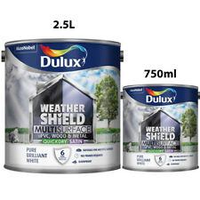 Dulux Weathershield Pure Brilliant White Multi Surface Quick Dry Satin 750ml