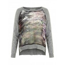Uttam Boutique for Yumi Womens Maple Leaf Front Jumper Knitwear Grey RRP £55.00