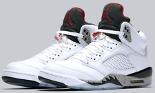 Nike Air Jordan Retro V 5 WHITE CEMENT Fire Red/ Grey-Black 136027-104 AUTHENTIC