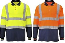 Portwest S279 Mens Work Polo Shirt Long Sleeved Two Tone Hi Vis Reflective Bands