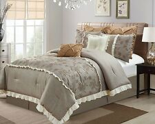 NEW Full Queen Cal King Bed Taupe Embroidered Floral 8pcs Comforter Set Elegant