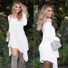 Fashion Womens Off-Shoulder Long sleeve Dress Casual Loose Cocktail Party Dress