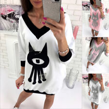 Ladies T Shirt Top Blouse Dress Womens Casual Long Sleeve V-Neck Oversize Loose