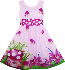 Girls Dress Mushroom Flower Grass Print Polka Dot Belt Purple Size 4-12