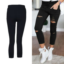Ladies Pants New Womens Skinny Leggings Trousers Stretchy  Faded Ripped Slim Fit
