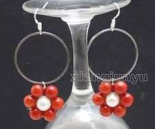 SALE Fashion white pearl and Red Coral & 28mm metal Ring Dangle Earring-ear604