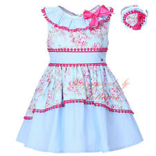 2PCS Girl Flower Party Dress and Headband Set Wedding Pageant Communion Holiday